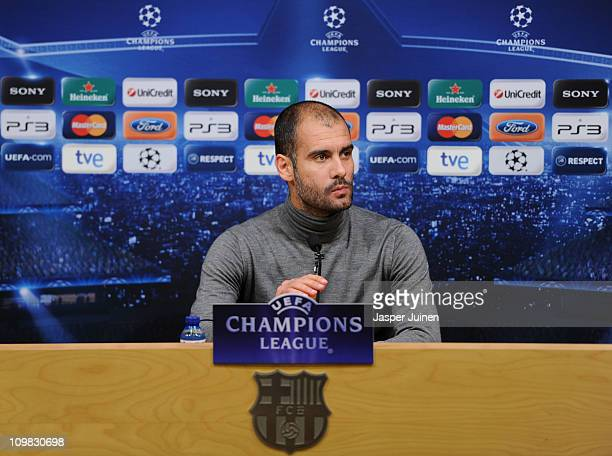 Head coach Josep Guardiola of Barcelona looks on during a press conference ahead of their UEFA Champions League round of 16 second leg match against...