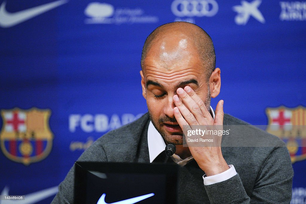 Head coach Josep Guardiola of FC Barcelona reacts during the press conference at the Camp Nou stadium on April 27, 2012 in Barcelona, Spain. Josep Guardiola has today announced he is not renewing his contract after a 4 year tenure as Head Coach of the FC Barcelona squad.