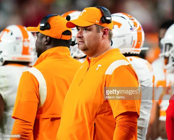 Head coach Josh Heupel of the Tennessee Volunteers during the game against Alabama Crimson Tide at Bryant Denny Stadium on October 23, 2021 in...