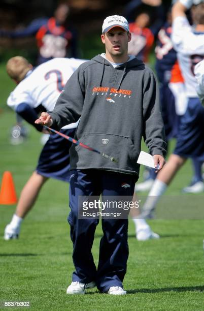 Head coach Josh McDaniels of the Denver Broncos oversees practice during minicamp at the Broncos training facility on May 3 2009 in Englewood Colorado