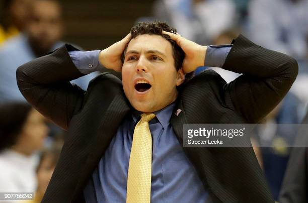 Head coach Josh Pastner of the Georgia Tech Yellow Jackets reacts against the North Carolina Tar Heels during their game at Dean Smith Center on...