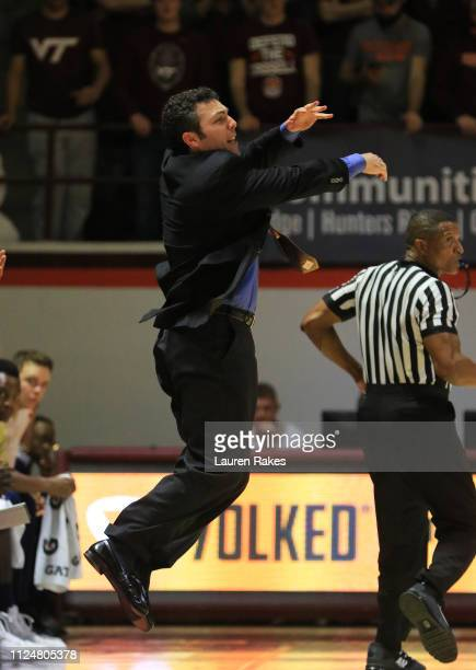 Head coach Josh Pastner reacts in the first half during the game against the Virginia Tech Hokies at Cassell Coliseum on February 13, 2019 in...