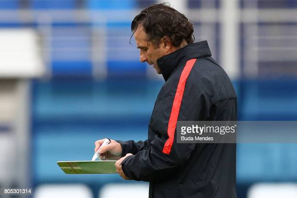 Head coach Juan Antonio Pizzi in action during a Chile training session ahead of their FIFA Confederations Cup Russia 2017 final against Germany at...