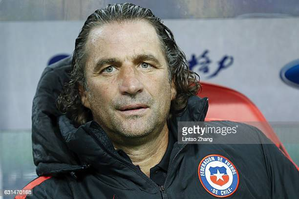 Head coach Juan Antonio Pizzi of Chile looks on during the 2017 Gree China Cup International Football Championship match between Croatia and Chile at...