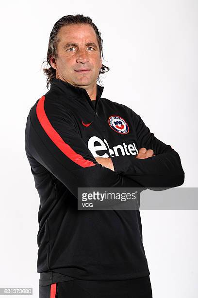 Head coach Juan Antonio Pizzi of Chile national football team poses during the team presentation ahead of the 2017 Gree China Cup International...