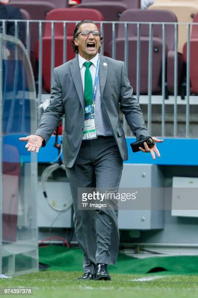 Head coach Juan Antonio Pizzi of Saudi Arabia gestures during the 2018 FIFA World Cup Russia group A match between Russia and Saudi Arabia at...