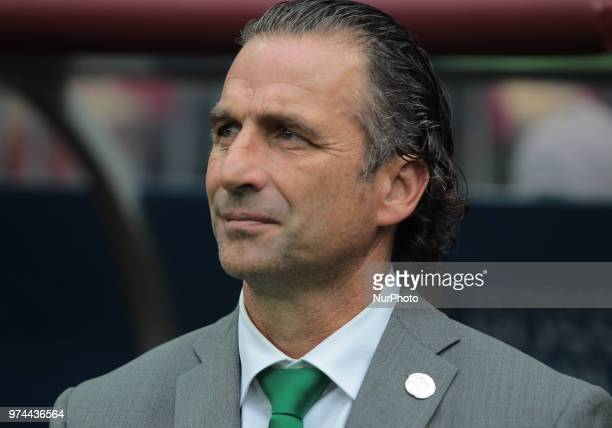 head coach Juan Antonio Pizzi of Saudi Arabia National team during Group A match between Russia and Saudi Arabia at the 2018 soccer World Cup at...