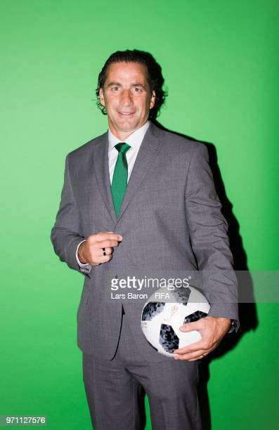 Head coach Juan Antonio Pizzi of Saudi Arabia poses for a portrait poses for a portrait during the official FIFA World Cup 2018 portrait session at...