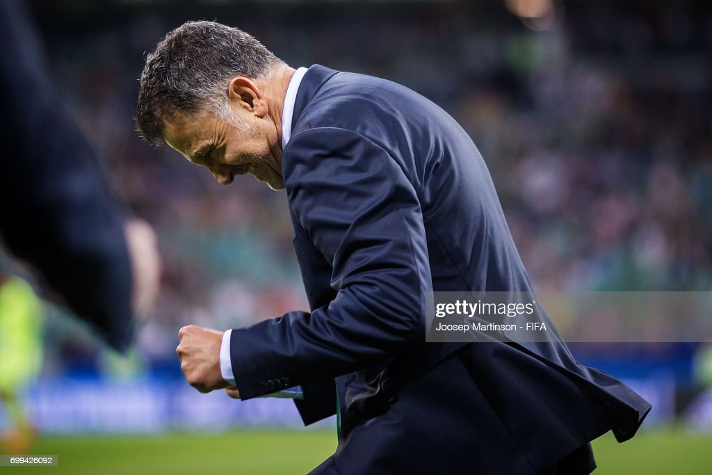 Head Coach Juan Carlo Osorio of Mexico celebrates winning the FIFA Confederations Cup Russia 2017 group A football match between Mexico and New Zealand at Fisht Olympic Stadium on June 21, 2017 in Sochi, Russia.