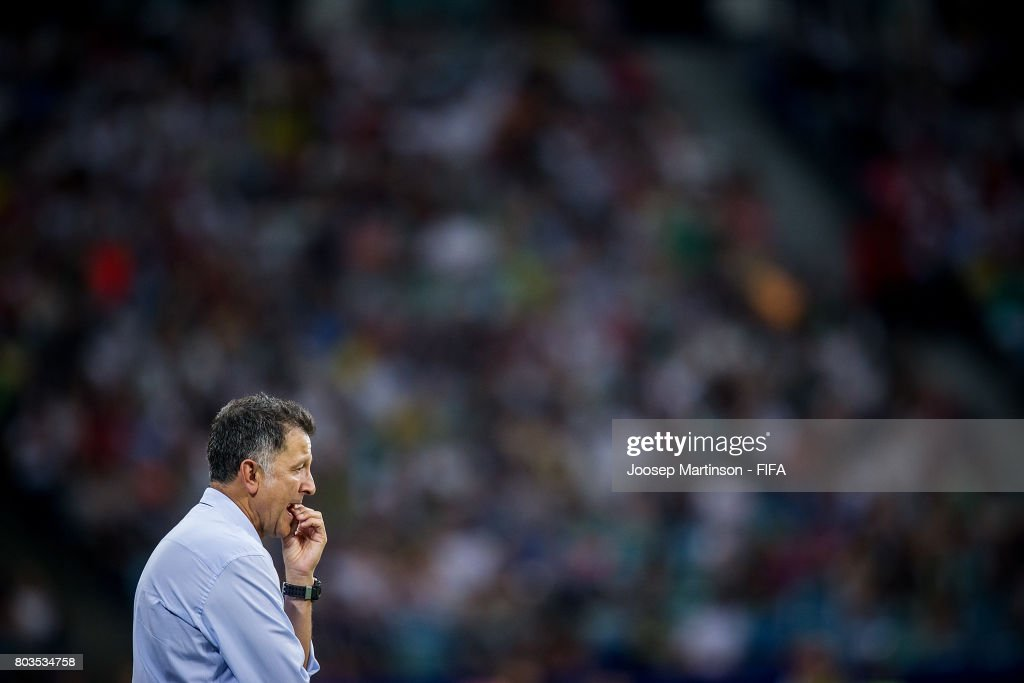 Head Coach Juan Carlo Osorio of Mexico reacts after Timo Werner of Germany scores his teams third goal during FIFA Confederations Cup Russia semi-final match between Germany and Mexico at Fisht Olympic Stadium on June 29, 2017 in Sochi, Russia.