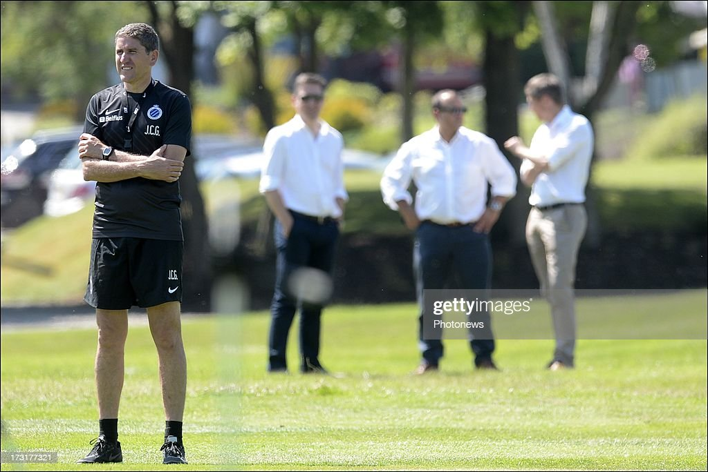 Head coach Juan Carlos Garrido of Club Brugge during the second day of a Club Brugge summer camp training session on July 9, 2013 in Manchester, England.