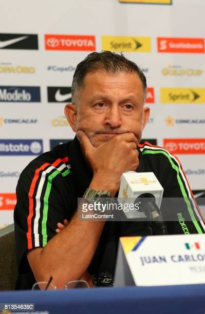 Head Coach Juan Carlos Osorio gestures during the Mexico National Team press conference ahead of it's match against Jamaica at Sports Authority Field...