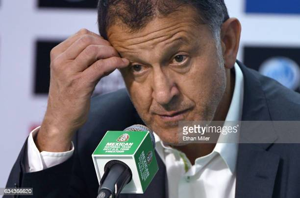 Head coach Juan Carlos Osorio of Mexico attends a news conference after his team's 10 victory over Iceland in their exhibition match at Sam Boyd...