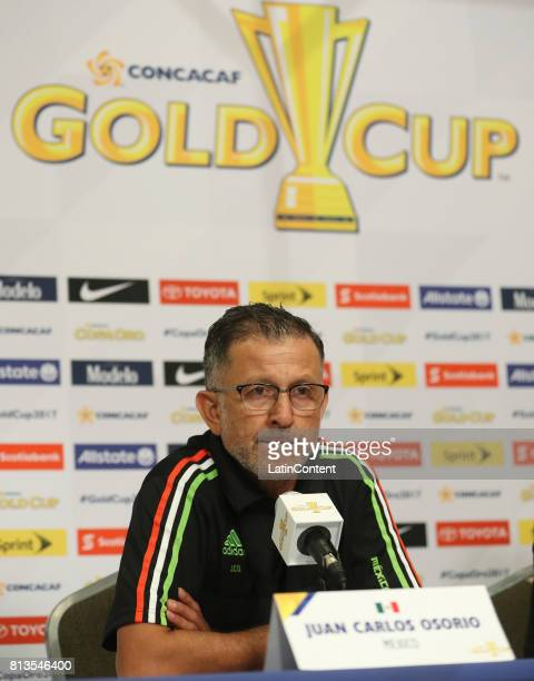 Head Coach Juan Carlos Osorio speaks during the Mexico National Team press conference ahead of it's match against Jamaica at Sports Authority Field...