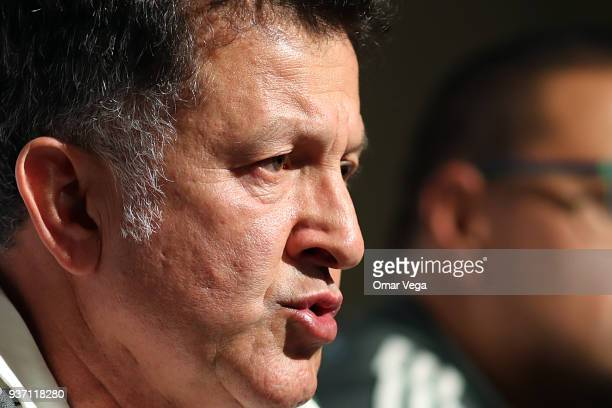 Head coach Juan Carlos Osorio speaks during the Mexico press conference ahead of the FIFA friendly match against Iceland at Levi's Stadium on March...
