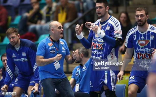 Head coach Juan Carlos Pastor Gomez and players of Szeged celebrate during the EHF Champions League match between Rhein Neckar Loewen and MolPick...
