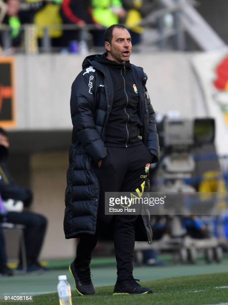 Head coach Juan Esnaider of JEF United Chiba looks on during the preseason friendly match between JEF United Chiba and Kashiwa Reysol at Fukuda...
