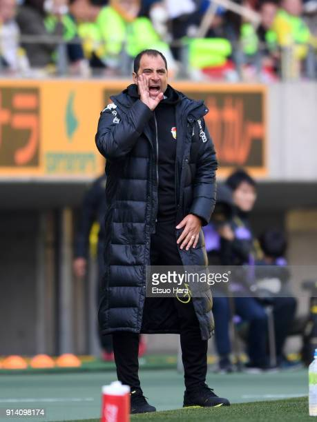 Head coach Juan Esnaider of JEF United Chiba shouts during the preseason friendly match between JEF United Chiba and Kashiwa Reysol at Fukuda Denshi...
