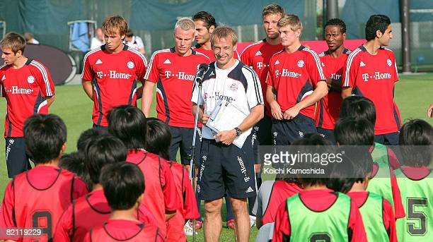 Head coach Juergen Klinsmann of Bayern Muenchen speaks during a practice session prior to the preseason match against Urawa Red Diamonds at Saitama...