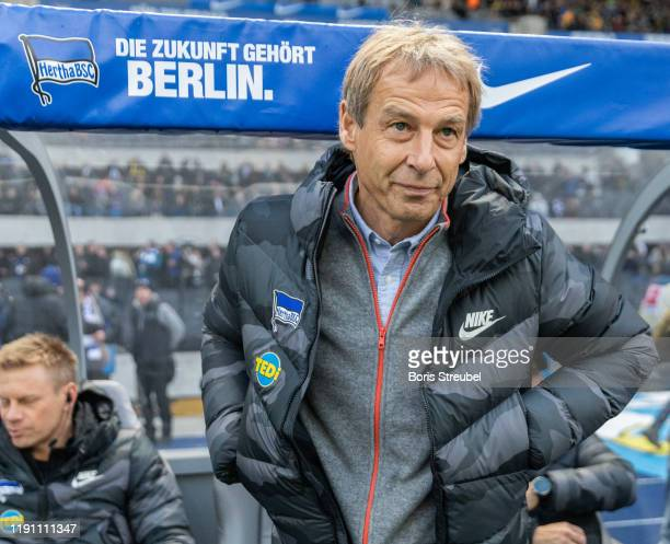 Head coach Juergen Klinsmann of Hertha BSC looks on prior to the Bundesliga match between Hertha BSC and Borussia Dortmund at Olympiastadion on...
