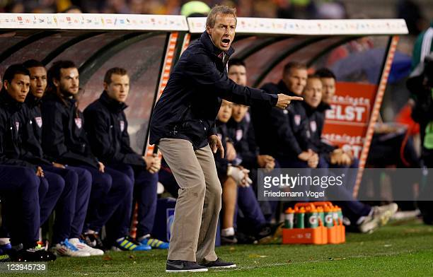 Head coach Juergen Klinsmann of the United States gestures during the international friendly match between Belgium and USA at Roi Baudouin Stadium on...