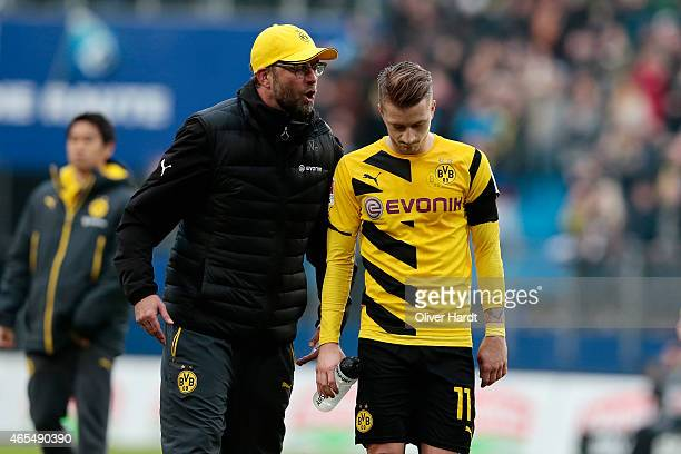 Head coach Juergen Klopp and Marco Reus of Dortmund appears frustrated after the First Bundesliga match between Hamburger SV and Borussia Dortmund at...
