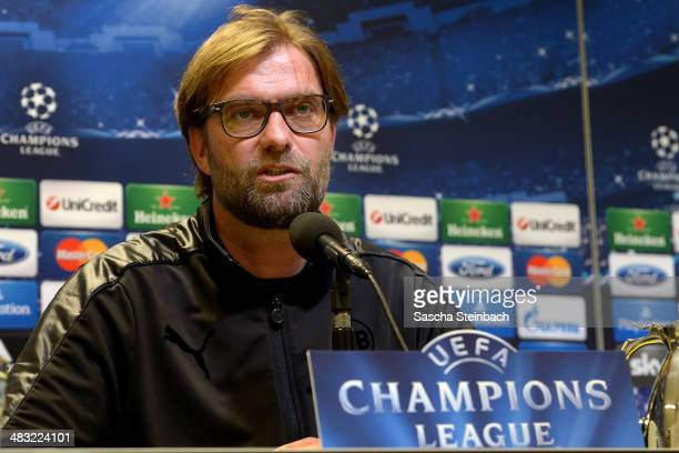 Head coach Juergen Klopp attends a press conference at Signal Iduna Park prior to the UEFA Champions League quarterfinal match between Borussia...