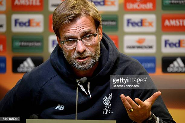 Head coach Juergen Klopp gestures during the Liverpool FC press conference prior to the UEFA Europa League match between Borussia Dortmund and...