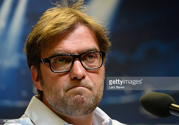 Head coach Juergen Klopp looks on during a Borussia Dortmund press conference ahead of their UEFA Champions League Semi Final first leg match against...