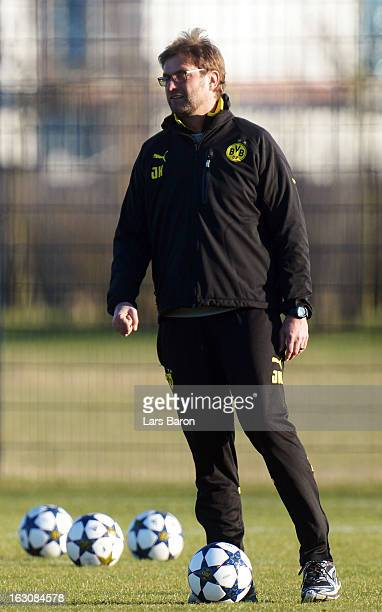 HEad coach Juergen Klopp looks on during a Borussia Dortmund training session ahead of their UEFA Champions League round of 16 match against Shakhtar...