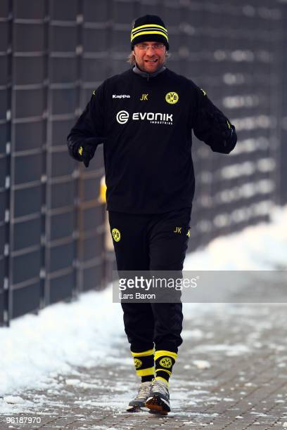 Head coach Juergen Klopp looks on during a Borussia Dortmund training session on January 26 2010 in Dortmund Germany