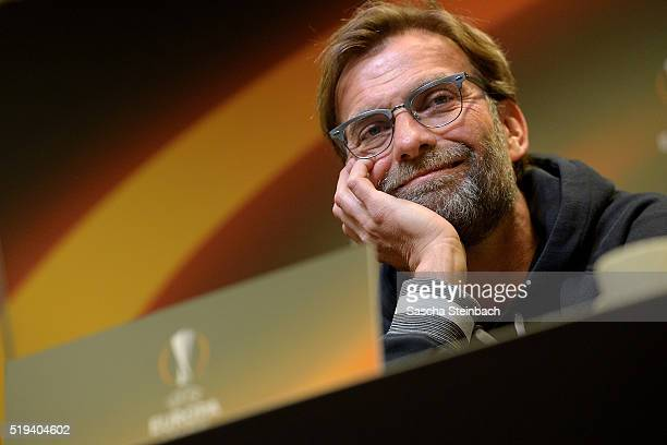 Head coach Juergen Klopp looks on during the Liverpool FC press conference prior to the UEFA Europa League match between Borussia Dortmund and...
