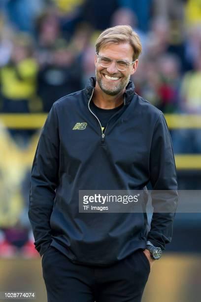 Head coach Juergen Klopp of Borussia Dortmund Allstars looks on during the Roman Weidenfeller Farewell Match between BVB Allstars and Roman and...