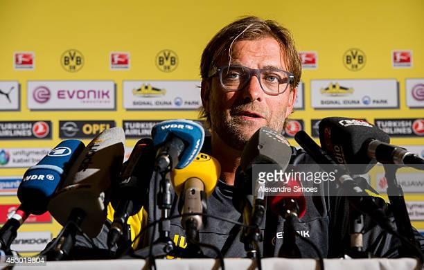 Head coach Juergen Klopp of Borussia Dortmund attends a press conference on August 1 2014 in Bad Ragaz Switzerland