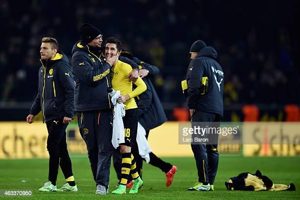 Head coach Juergen Klopp of Borussia Dortmund celebrates with Nuri Sahin after the Bundesliga match between Borussia Dortmund and 1 FSV Mainz 05 at...
