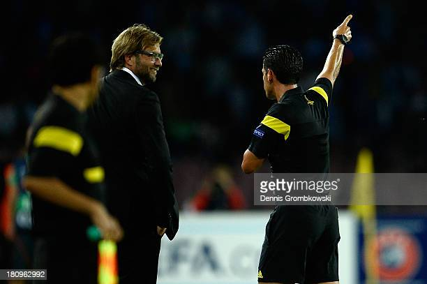 Head coach Juergen Klopp of Borussia Dortmund is banned from the pitch during the UEFA Champions League Group F match between SSC Napoli and Borussia...