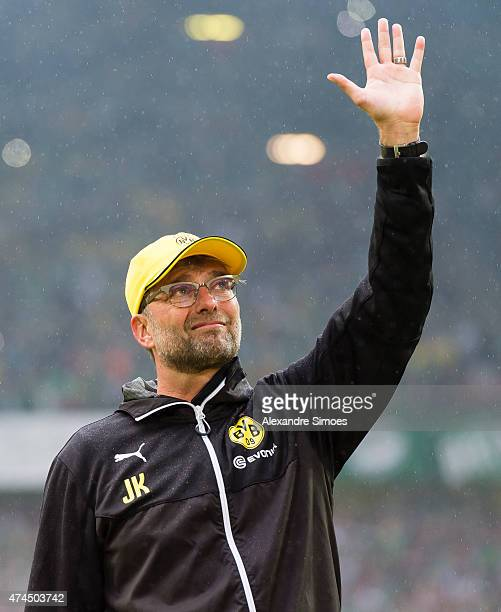Head coach Juergen Klopp of Borussia Dortmund is saying goodbye to the fans after the final whistle of his last home match for Borussia Dortmund...