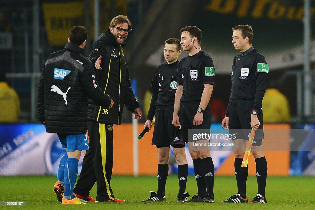 Head coach Juergen Klopp of Borussia Dortmund reacts after the Bundesliga match between 1899 Hoffenheim and Borussia Dortmund at Rhein-Neckar-Arena on December 14, 2013 in Sinsheim, Germany.