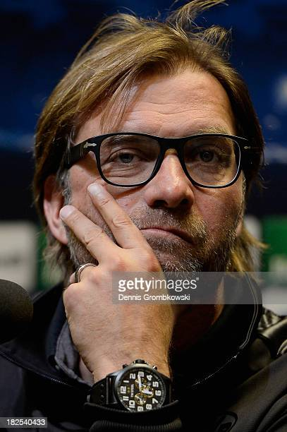 Head coach Juergen Klopp of Borussia Dortmund reacts during a press conference ahead of their Champions League match against Olympique Marseille on...