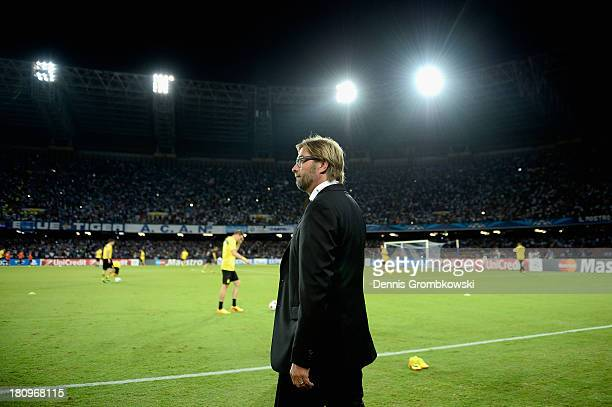 Head coach Juergen Klopp of Borussia Dortmund reacts prior to the UEFA Champions League Group F match between SSC Napoli and Borussia Dortmund at...