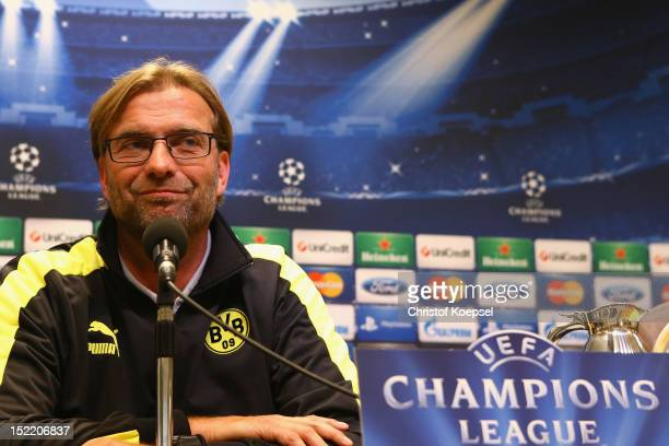 Head coach Juergen Klopp of Dortmund attend the press conference at Signal Iduna Park in Dortmund, Germany. The UEFA Champions League group D match...
