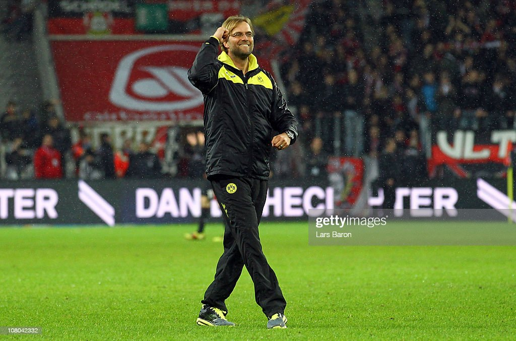 Head coach Juergen Klopp of Dortmund celebrates after winning the Bundesliga match between Bayer Leverkusen and Borussia Dortmund at BayArena on January 14, 2011 in Leverkusen, Germany.