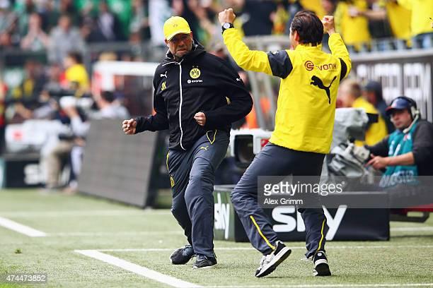 Head coach Juergen Klopp of Dortmund celebrates his team's second goal during the Bundesliga match between Borussia Dortmund and Werder Bremen at...