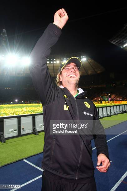 Head coach Juergen Klopp of Dortmund celebrates winning the DFB Cup final match between Borussia Dortmund and FC Bayern Muenchen at Olympic Stadium...