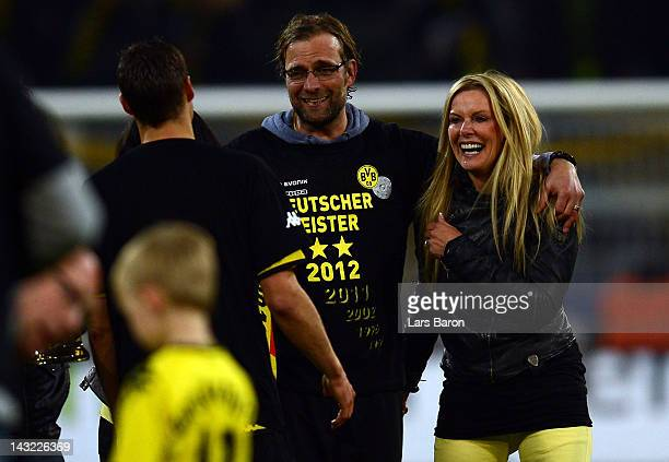 Head coach Juergen Klopp of Dortmund celebrates with wife Ulla after winning the Bundesliga match between Borussia Dortmund and Borussia...