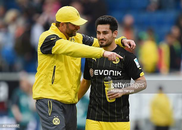 Head coach Juergen Klopp of Dortmund jokes with Ilkay Guendogan of Dortmund after the Bundesliga match between 1899 Hoffenheim and Borussia Dortmund...