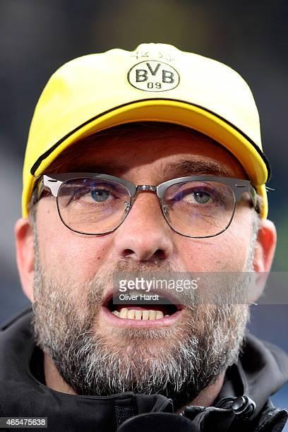 Head coach Juergen Klopp of Dortmund looks on prior to the First Bundesliga match between Hamburger SV and Borussia Dortmund at Imtech Arena on March...