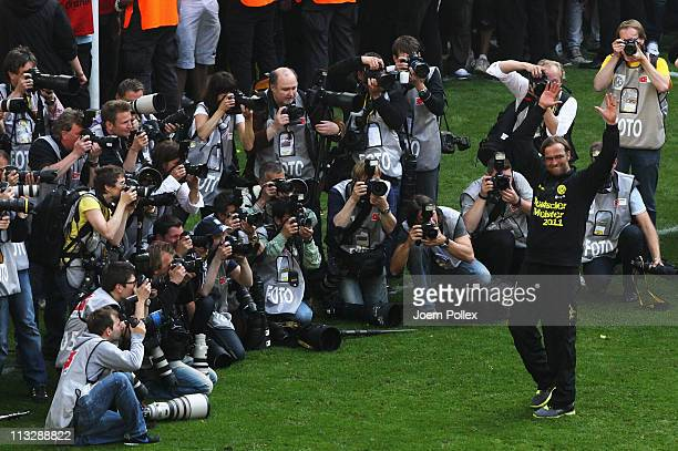 Head coach Juergen Klopp of Dortmund of Dortmund celebrates the German championship for Dortmund after winning the Bundesliga match between Borussia...