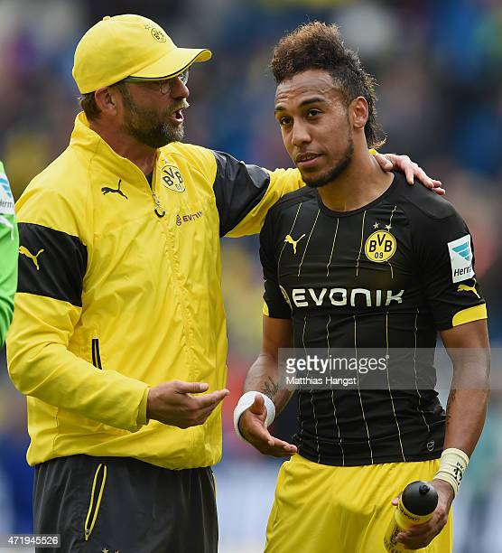 Head coach Juergen Klopp of Dortmund speaks to PierreEmerick Aubameyang of Dortmund after the Bundesliga match between 1899 Hoffenheim and Borussia...