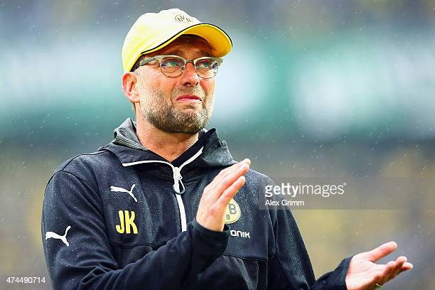Head coach Juergen Klopp of Dortmund waves farewell to the fans after the Bundesliga match between Borussia Dortmund and Werder Bremen at Signal...